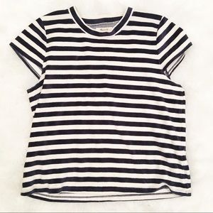 Madewell black white striped cap sleeve top large